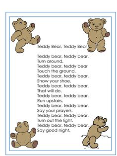 Teddy Bear's adventures: Teddy Bear Rhyme goes into live action. Teddy Bear's adventures: Teddy Bear Rhyme goes into live action. Kindergarten Songs, Preschool Songs, Bear Crafts Preschool, Songs For Toddlers, Kids Songs, Action Songs For Kids, Songs For Preschoolers, Fun Songs, Teddy Bear Day