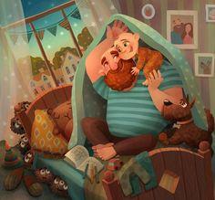 """1,565 Me gusta, 18 comentarios - Eugene Smolenceva (@eugene_smolenceva) en Instagram: """"Родительская любовь, которая может победить всех монстров под кроватью, даже если мы уже давно не…"""""""