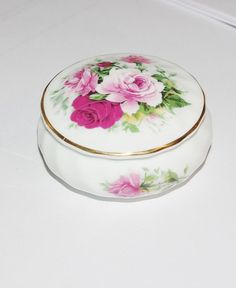 Beautiful Bone China Round Trinket Box with by StetsonCollectibles