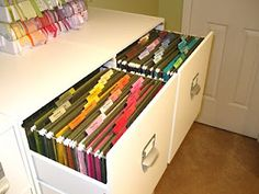 paper storage in filing cabinet. What a great idea. Could so easily do this when i clean out and condense.