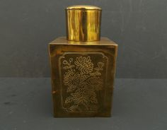 Vintage Chinese Engraved Brass Tea Caddy Canister Jar