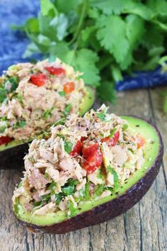 Healthy Tuna Stuffed Avocado packs a protein punch. Snack away, friends!