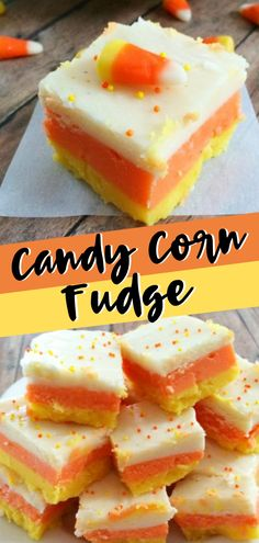 CANDY CORN FUDGE WILL BE YOUR NEW FAVORITE THING! A fall dessert recipe, this Candy Corn Fudge has got amazing layers and has all the gorgeous colors of fall! It's an easy fall recipe for kids and also the perfect fall recipe for a crowd! Save this pin! Fall Dessert Recipes, Desserts For A Crowd, Food For A Crowd, Fall Recipes, Holiday Recipes, Christmas Recipes, Easy Fall Desserts, Candy Corn Fudge Recipe, Fudge Recipes
