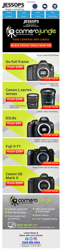 Black Friday Product Deals Email from Jessops #Email #Marketing #EmailMarketing #Camera #Photography #Photo #BlackFriday #Black #Friday #Hitech #Technology