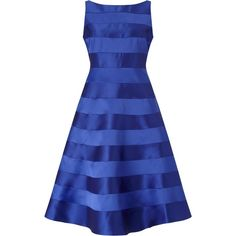 Adrianna Papell Sleeveless Mikado And Satin Stripe Party Dress, Neptune found on Polyvore featuring polyvore, women's fashion, clothing, dresses, fit flare dress, maxi dresses, fit and flare midi dress, fit-and-flare midi dresses and blue maxi dress