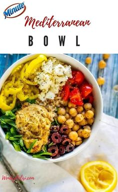 This Mediterranean Bowl recipe is a deliciously wholesome lunch that is so easy to make thanks to Minute Ready to Serve. With feta, olives, pepperoncini, spinach, and tomatoes served with brown rice and topped off with hummus, this gluten-free meal is totally crave-worthy. AD #easyrecipe #lunch #wholesome #bowlrecipe #vegetarian