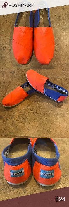 Toms  sz 11w Toms size 11w orange and blue. Great condition! Toms Shoes