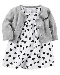 2-Piece Bodysuit Dress & Cardigan Set