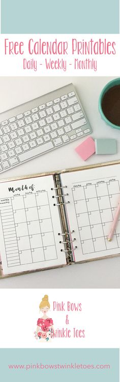 A planner printable roundup full of awesome, free planner printables! This time, I'm gathering up all of my calendar printables! Free Planner, Planner Pages, Happy Planner, Planner Ideas, Weekly Planner, Free Printable Calendar, Printable Planner, Planner Stickers, Free Printables