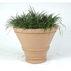 "Allied Molded Products Havana Round Pot Planter Color: Bone, Size: 20"" H x 24"" W x 24"" D"