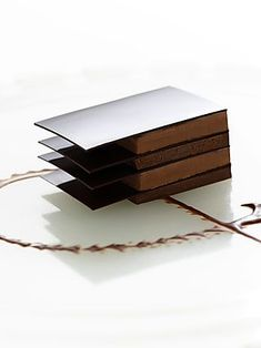 Tempered chocolate sheets layered with mousse