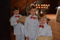 Searsucker cuteness in ring bearers with bow ties & monogrammed ring pillows of burlap -Old Glory Ranch www.oldgloryranch.com  www.facebook.com/oldgloryranch
