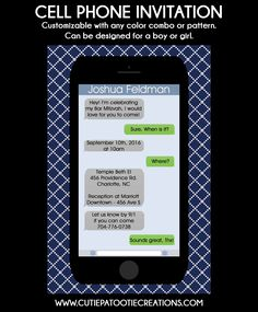Technology Party Theme Ideas - iPhone Bar Mitzvah Invitations from Cutie Patootie Creations - mazelmoments.com