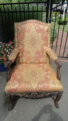 Philadelphia: Carved wood and fabric chair $100 - http://furnishlyst.com/listings/28601