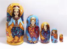 Nesting dolls Russian doll Fabulous birds Matryoshka Set of 5 pieces Handmade work folklore Mystical birds Russian Lubok