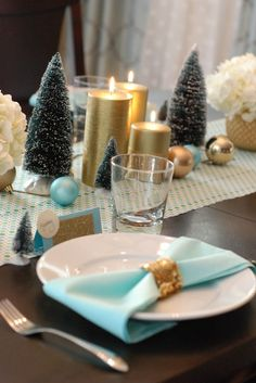 tablescape holidays mint gold turquoise decorating party