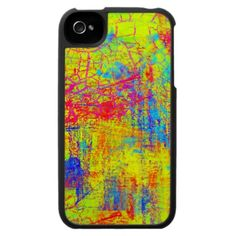 Wild Colors on this Bright Yellow Abstract Art  iPhone 4 Case