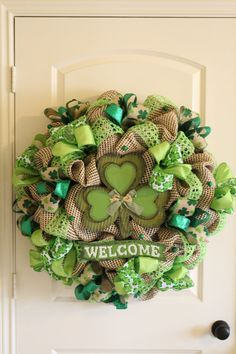 St. Patrick's Day Welcome Deco Mesh Wreath by FlowersToEnvy, $139.00