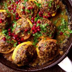 Lamb-stuffed quince with pomegranate & coriander