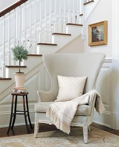 Have a chair you can sink into right as you get home from a long day.  This one is simple yet elegantly goes with the walls.