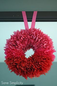 ombre tissue paper wreath... for valentine's day!