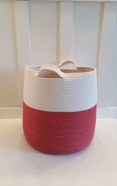 XXL Red and White Rope Basket with Handles