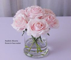 Cute floral arrangement with white roses in faux water. Perfect for a vanity tray, book shelf, small night stand or end table. Beautifully hand crafted in Silk Roses, Blush Roses, Blush Pink, White Roses, Faux Flowers, Silk Flowers, Paper Flowers, Illusion, Succulent Centerpieces