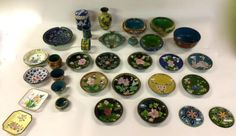 Antique Chinese Cloisonne and Enamel Collection   Thirty Two Assorted Pieces   Jars Vases Ashtrays Small Dishes Napkin Rings  More. . .  Very few pieces are Enamel most are Cloisonne.  $695 Entire Collection  White Elephant Antiques 1026 N. Riverfront Blvd. Dallas, TX 75207  Read more: http://dallas.ebayclassifieds.com/antiques/dallas/antique-chinese-cloisonne-and-enamel-collection/?ad=35602765#ixzz3FC0Qyg90