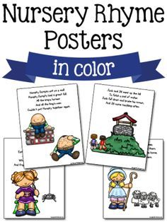 Nursery Rhyme Printables These printable nursery rhyme posters and activity cards can be used in your preschool classroom. Read the Terms of Use Nursery Rhyme Posters These posters come in color and blackline. Use for poetry books, charts, posters, Nursery Rhymes Kindergarten, Rhyming Kindergarten, Free Nursery Rhymes, Nursery Rhyme Crafts, Nursery Rhyme Theme, Rhyming Activities, Kindergarten Themes, Preschool Songs, Preschool Printables