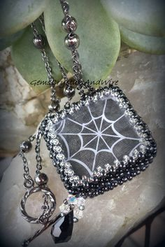 Beaded Elegant Spider Web Necklace with Swarovski Dangle - pinned by pin4etsy.com
