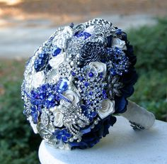 Navy blue Broach wedding bouquet Deposit on a made by annasinclair, $75.00