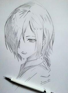 Touka-chan Dark Art Drawings, Anime Drawings Sketches, Anime Sketch, Cute Drawings, Anime Character Drawing, Character Art, Manga Art, Anime Art, Tokyo Ghoul Drawing
