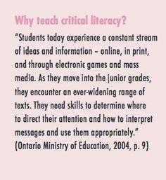 Why teach critical literacy?