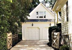 Detached garage - I like the idea of gates to provide privacy and secures the dog in the backyard.