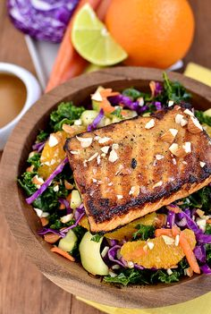 salmon marinade/salad dressing:  2-1/2 Tablespoons rice wine vinegar  2 Tablespoons orange juice  1 Tablespoon lime juice  1 Tablespoon low-sodium soy sauce  2 teaspoons honey  1 teaspoon freshly grated ginger  1/2 teaspoon sesame oil  1 clove garlic  salt & pepper