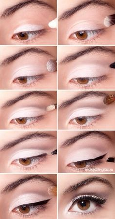Very clean, striking look for brown eyes: white eye shadow, fade to pale pink; gray or gentle purple directly on the crease and above; upper lid eye liner