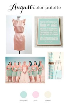 August Wedding Color Palette...switch the pink for another shade of blue and add burlap hue.