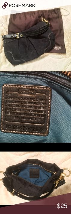 """Coach Black Hamptons Signature Hobo Bag #12918 Pre-Owned, well-maintained Coach Handbag. Dimensions: 11"""" x 7.5"""" x 2"""".  16"""" Adjustable leather strap with 7"""" drop. Features brass hardware, top zip closure with leather pull. Contains two inside front slip pockets and one inside back zip pocket. Interior is teal. INCLUDES dust bag. Coach Bags Hobos"""