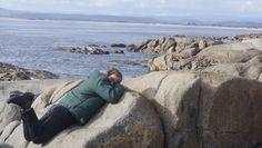 Judy posing on a rock at Bridport.