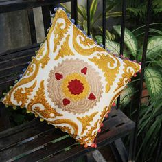 Ethnic Suzani Cushion Cover 16X16 Vintage Cotton Pillow Cases Embroidered Shams #Handmade #Traditional