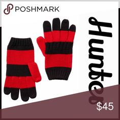 HUNTER ORIGINAL GLOVES 100% Extra Fine Wool 💟NEW WITH TAGS💟 RETAIL PRICE: $60  HUNTER ORIGINAL Wool Gloves  * Contrasting striped design   * Knit construction   * Stretch-to-fit  * Tagged size S-M, will fit many   * Super soft & cozy  * Well made & high quality   Material: 100% Extra Fine Virgin Wool Color: Black & military red Item#:   🚫No Trades🚫 ✅ Offers Considered*✅ *Please use the blue 'offer' button to submit an offer. Hunter Boots Accessories Gloves & Mittens