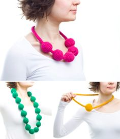 So, these hand-crocheted necklaces really caught my eye this morning. They're so arty and creative. They could really make an outfit, right? Would you wear one of these quirky pieces? PomPom Necklaces by Elina Jarvinen. Love Crochet, Diy Crochet, Hand Crochet, Crochet Stitches, Crochet Patterns, Knitted Necklace, Yarn Crafts, Decor Crafts, Paper Crafts