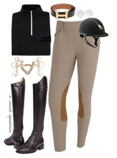 """black and gold schooling"" by a-circuit-equestrian on Polyvore featuring Hermès"