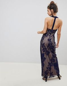 Little Mistress | Little Mistress Halter Neck Maxi Dress With Baroque Lace Overlay