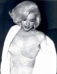 "Marilyn Monroe in gold gown the night she sang ""Happy Birthday Mr. President"" to JFK."
