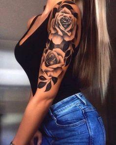fdcfc8a3b Realistic Black Rose Flower Floral Thigh Leg Arm Wrist Bum Tattoo ...