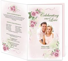 Letter Single Fold : Primrose Wedding Program Templates. Edits easily and quickly in Word, OpenOffice, Publisher, and Apple iWork Pages.