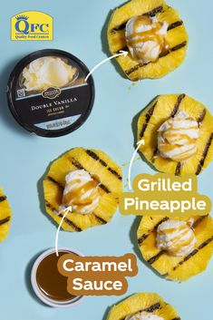 The freshest summer calls for Grilled Pineapple with Ice Cream & Caramel. Add a fresh summer twist to your next pickup order with mouthwatering produce from QFC. Summer Grilling Recipes, Summer Recipes, Summer Fruit, Summer Salads, Seafood Shop, Light Summer Meals, Caramel, Herb Shop, Fruit Shop