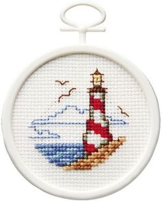 Lighthouse Mini - Cross Stitch Kit - Cross stitch in the circle - DIY Cross Stitch Sea, Cross Stitch Cards, Beaded Cross Stitch, Modern Cross Stitch, Cross Stitch Designs, Cross Stitch Embroidery, Cross Stitching, Embroidery Patterns, Cross Stitch Patterns