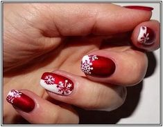 130 festive and easy christmas nail art designs you must try page 43 Fingernail Designs, Red Nail Designs, Nail Polish Designs, Beautiful Nail Designs, Nails Design, Nail Art Noel, Snowflake Nail Art, Red Nail Art, Snowflakes